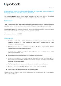 """Podmínky akce """"5 000 Kč k refinancování hypotéky do Equa bank"""