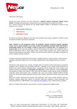 Oznámení o změně v digitální TV nabídce NEJ ZÁKLAD SD