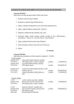 usnesení 18. schůze rady města týn nad vltavou ze dne 9.5.2016