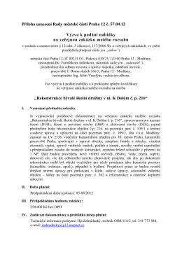 Příloha usnesení Rady městské části Praha 12 č