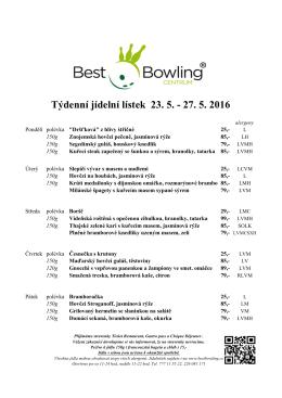 Týdenní menu - Best Bowling Praha