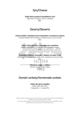 Sýry/Cheese Dezerty/Desserts Domácí sorbety