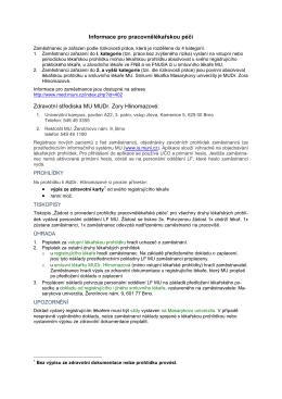 Informace pro pracovnělékařskou péči Zdravotní střediska MU MUDr