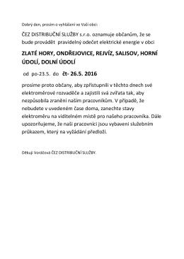 Informace ČEZ DISTRIBUČNÍ SLUŽBY s.r.o. o