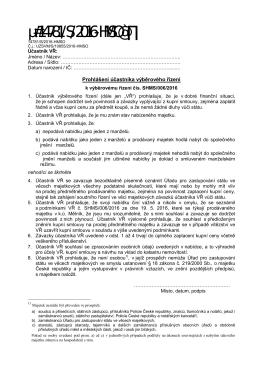 Prohlášení účastníka výběrového řízení