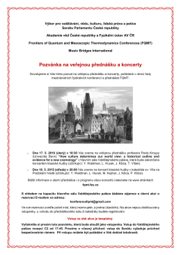 Pozvánka na veřejnou přednášku a koncerty