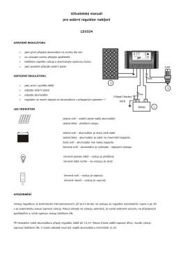 Uživatelský manuál pro solární regulátor nabíjení LS1024