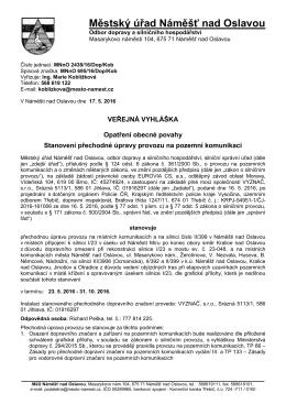 Přechodná úprava - Obec Kralice nad Oslavou