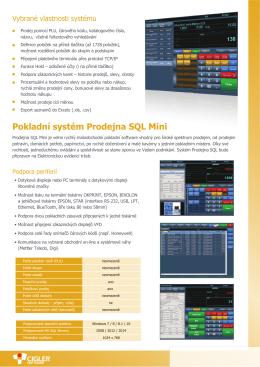 Pokladní systém Prodejna SQL Mini dejna SQL Mini - x-pos