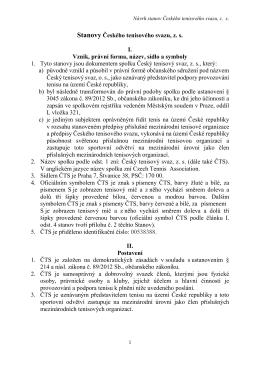 stanovy nástupnického spolku ČTS - Pražský tenisový svaz