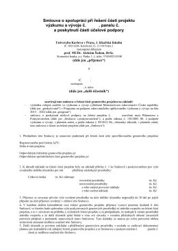 Navrh smlouvy o spolupraci - 1. lékařská fakulta UK