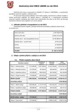Závěrečný účet OBCE LIBERK za rok 2015