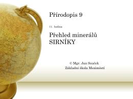 11. Přehled minerálů SIRNÍKY