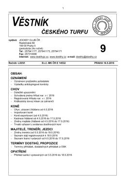 Věstník ČT 9 - Dostihy.cz