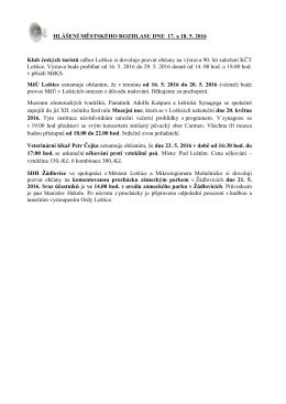 Hlášení městského rozhlasu dne 17.5. a 18.5.2016