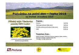 Pozvánka na polní den – řepka 2016