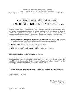 Kritéria pro přijetí žáků do MŠ pro rok 2016