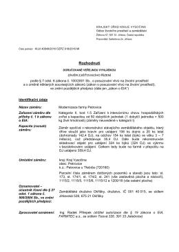 závěr zjišťovacího řízení - rozhodnutí doručované