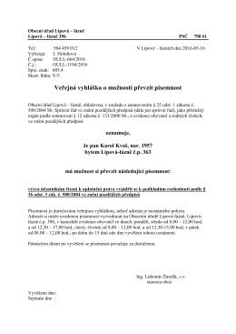 Veřejná vyhláška OÚ Lipová-lázně č.j. OULL/1194/2016