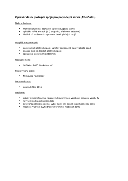Opravář desek plošných spojů pro poprodejní servis (AfterSales)