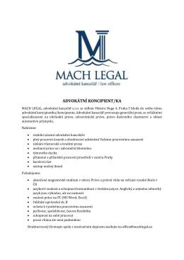 Advokátní kancelář MACH LEGAL hledá koncipientku