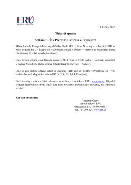 Tisková zpráva Setkání ERÚ v Přerově, Havířově a Prostějově