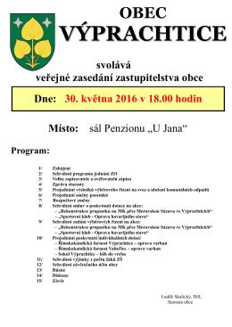 plakát 30.5.2016 - Obec Výprachtice