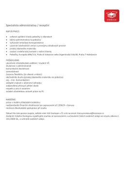 Specialista administrativy / recepční