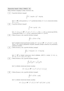 Doporučené domácí cvičení z MA03 (č. 12) Téma: Křivkové integrály