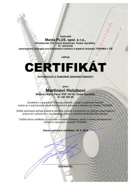 certifikát - HM
