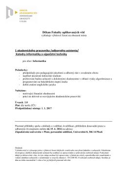 Katedry informatiky a výpočetní techniky Fakulty aplikovaných věd