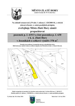 Pacht pozemku p. č. 635/3 a části pozemku p. č