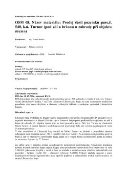 OSM 08. Název materiálu: Prodej části pozemku parc.č