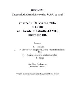 Pozvánka na zasedání AS JAMU konaného dne 18.5.2016
