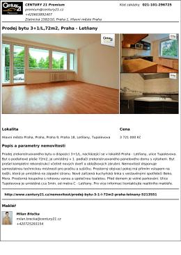 Prodej bytu 3+1/L,72m2, Praha - Letňany