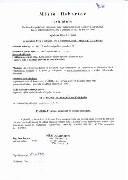 Výběrové řízení č. 11/2016 na pronájem bytu o vel. 1+1