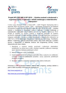 """Projekt NF-CZ07-INP-5-307-2016 – """"Výměna znalostí a"""