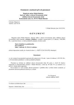 Veřejná vyhláška - Marie Zedníčková
