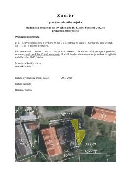 Záměr pronájmu městského majetku