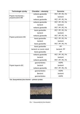 Technologie výroby Charakter – elementy Surovina Pojené