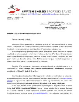 uputstva školama – 2016 - Hrvatski školski sportski savez