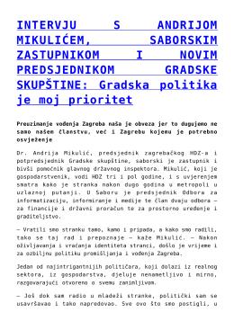 INTERVJU S ANDRIJOM MIKULIĆEM, SABORSKIM