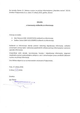 Odluka o imenovanju službenika za informiranje