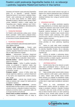 Posebni uvjeti poslovanja Zagrebačke banke d.d. za izdavanje i