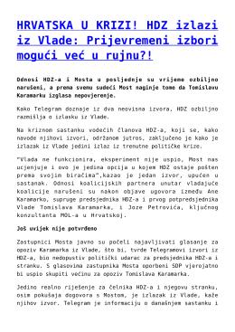 HRVATSKA U KRIZI! HDZ izlazi iz Vlade: Prijevremeni