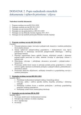 DODATAK 2. Popis nadređenih strateških dokumenata i