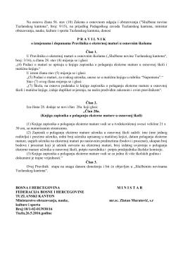 pravilnik o izmjenama pravilnika o maturi