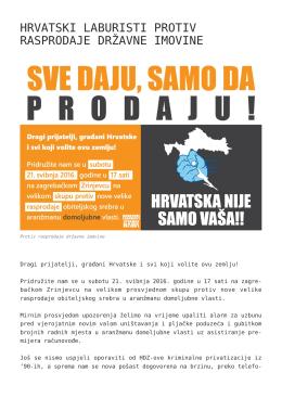 Hrvatski laburisti protiv rasprodaje državne imovine