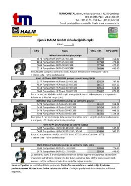 Cjenik HALM cirkulacijskih crpki 05/16