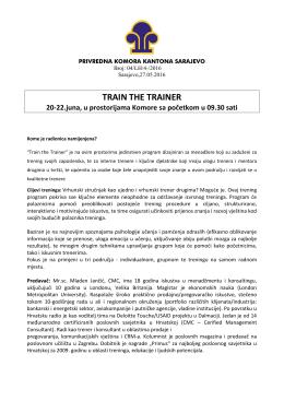 train the trainer - Privredna komora Kantona Sarajevo